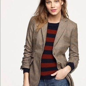 J.Crew Collection Tan Plaid Tweed Hacking Blazer 4